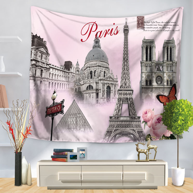 Printed Scenic Wall Hanging Home Docoration Instagram Hot Wall Art Iron Tower Printed Tapestry