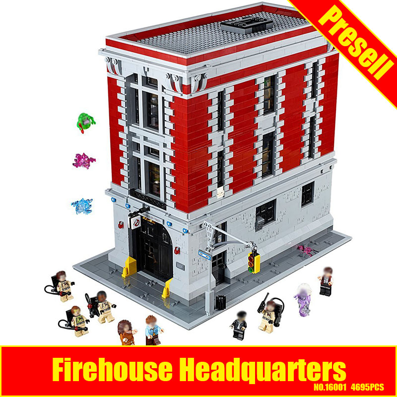 LEPIN 16001 4695Pcs Ghostbusters Firehouse Headquarters Model Building Kits Educational DIY Toy set brin quedos Compatible 75827 4695pcs lepin 16001 city series firehouse headquarters house model building blocks compatible 75827 architecture toy to children