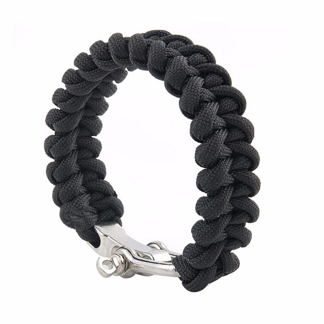 Outdoor Paracord Bracelet 7 Core Cord U Shape Safety Buckle Black Rope Camping Steel Shackle