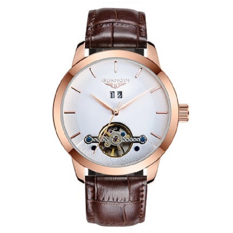 GUANQIN Mens Watches Men Automatic Mechanical Watches Hollow Vintage Leather Strap Watch Thin Waterproof Flywheel Wristwatches ключница эстет kлючница стрелец 14 158 gal14 158