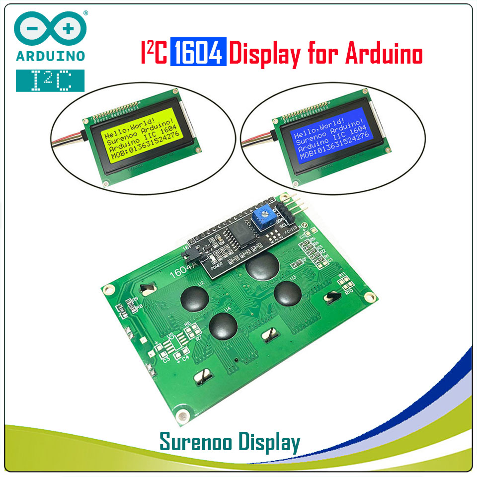Serial IIC / I2C / TWI 1604 164 16*4 Character LCD Module Display Yellow Green Blue with Backlight for ArduinoSerial IIC / I2C / TWI 1604 164 16*4 Character LCD Module Display Yellow Green Blue with Backlight for Arduino