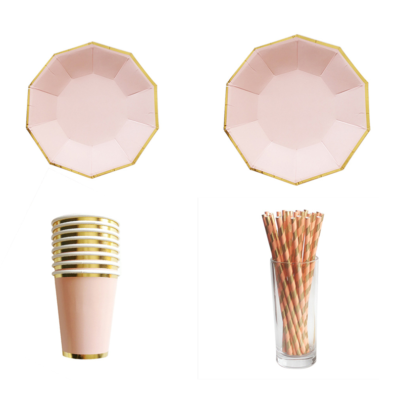 8pcs/set Gold Foil Pink Disposable Tableware Christmas New Year Party Paper Plates Cups Birthday Party Supplies Plastic Straws-in Disposable Party Tableware ...  sc 1 st  AliExpress.com & 8pcs/set Gold Foil Pink Disposable Tableware Christmas New Year ...
