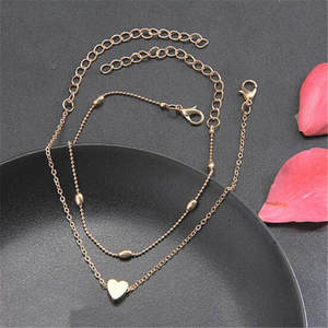 Ahmed Gold/Silver Love Heart Beads Double Layer Anklet Charm Foot Chain Ornaments for Women Fashion Jewelry Gifts Wholesale