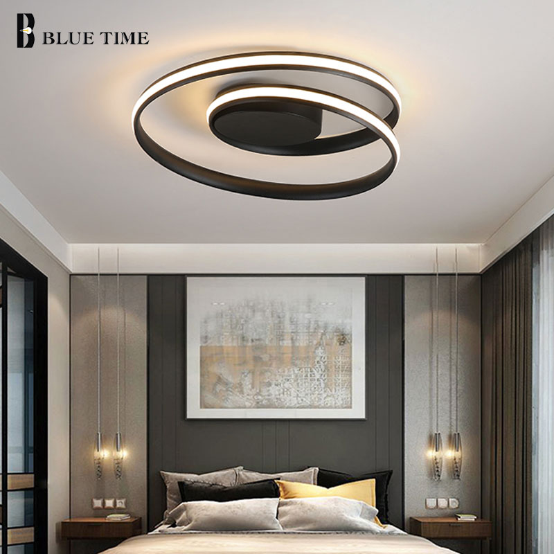 Minimalist Modern Led Ceiling Lights Black White Rings Led Chandelier Ceiling Lamp For Bedroom Living room