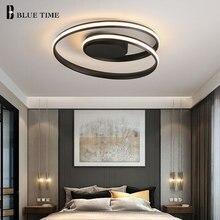 Минималистский современные светодиодные светильники потолочные черные и белые кольца Led Люстра потолочная лампа для Спальня гостиной столовой светильник