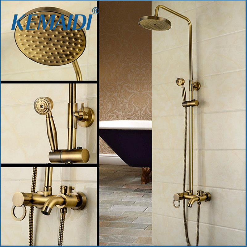 KEMAIDI New Arrival Antique Brass Shower Faucet Set 8 Inch Shower Head Hand Shower Sprayer Wall Mounted Mixer Tap sognare new wall mounted bathroom bath shower faucet with handheld shower head chrome finish shower faucet set mixer tap d5205