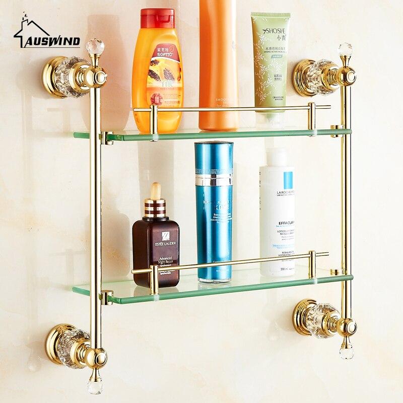 European Gold Polished Brass Crystal Bathroom Shelf Luxury Glass ...