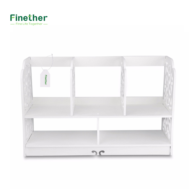 Finether 2 Tier Cut Out Wood Plastic Composite Shelf Unit Desktop Organizer Storage Rack With 5 Compartments For Home Kitchen