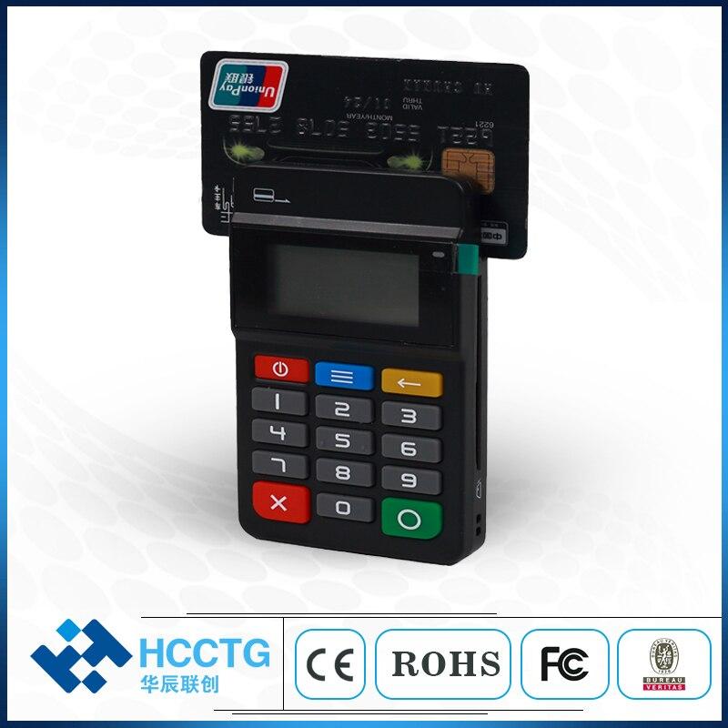Terminal de paiement mobile Bluetooth MPOS 3-en-1 avec lecteur MSR + puce IC/lecteur de carte NFC et graveur avec affichage/Keypad-HTY711