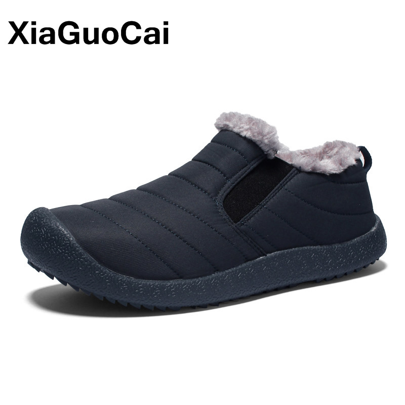Los hombres zapatos de invierno Los Hombres Calientes ocasionales más tamaño Slip-On de goma par de felpa suave Zapatos Hombre zapatillas adultos antideslizante impermeable