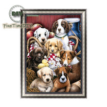 FineTime Dogs Family 5D DIY Diamond Painting Partial Round Drill Diamond Embroidery Animal Cross Stitch finetime cute cats family 5d diy diamond painting partial round drill diamond embroidery animal cross stitch