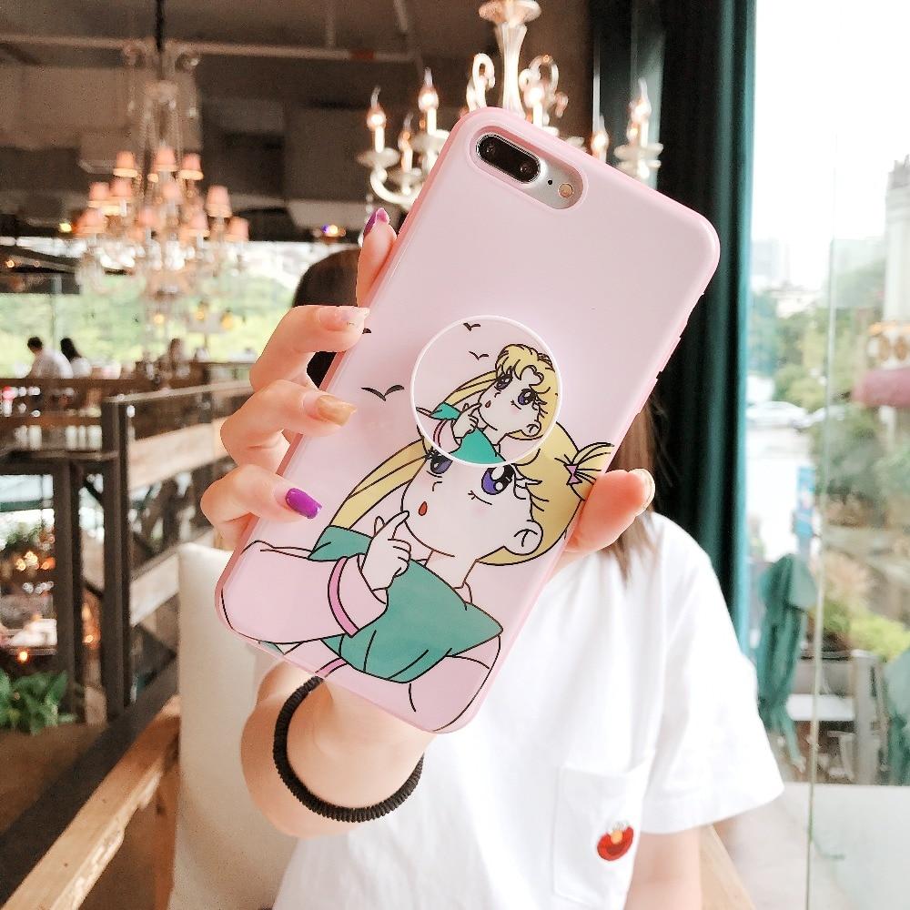 Cute Cartoon Sailor Moon Air Bag Cell Phone Bracket Pink IMD Case For iPhone  XS XR XS MAX Case For iPhone X 6 6S 7 8 Plus Case -in Fitted Cases from ... a4214890114a