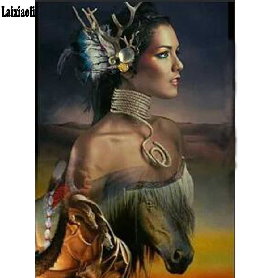 3D Diy Diamond Painting Indians half woman and horse Mosaic 5D Cross Stitch Full Square Diamond Embroidery Home Decor