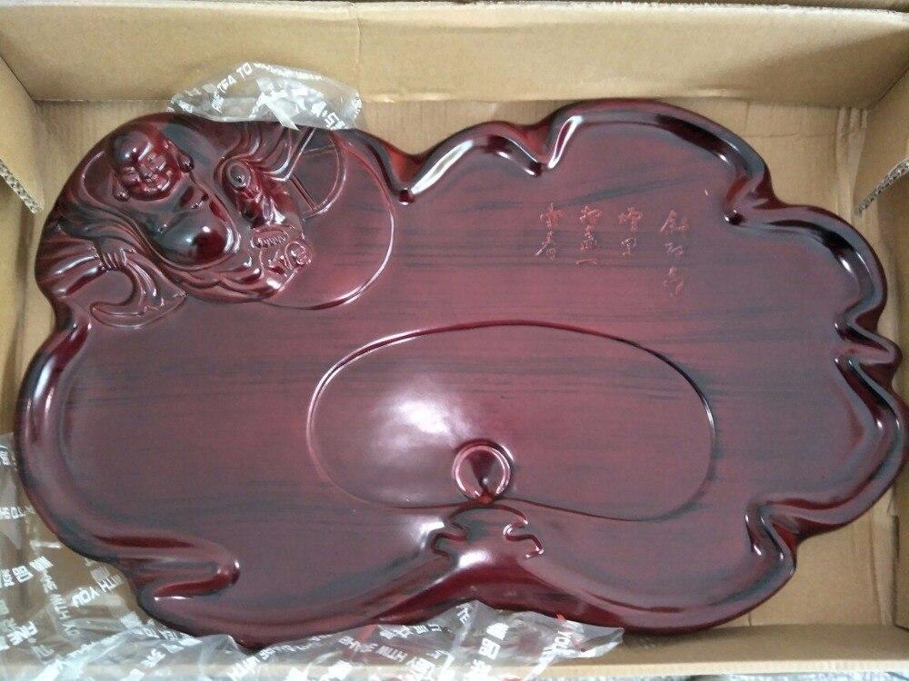 Plateau de thé en résine de haute qualité Drainage stockage de l'eau KungFu ensemble de thé table de thé chinois cérémonie outils 59*34*8 cm