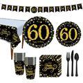 Посуда для вечеринки в честь Дня Рождения Taoup, золотистые и черные тарелки, покрывало для стола с 60 днями рождения, Декорации для взрослых, де...
