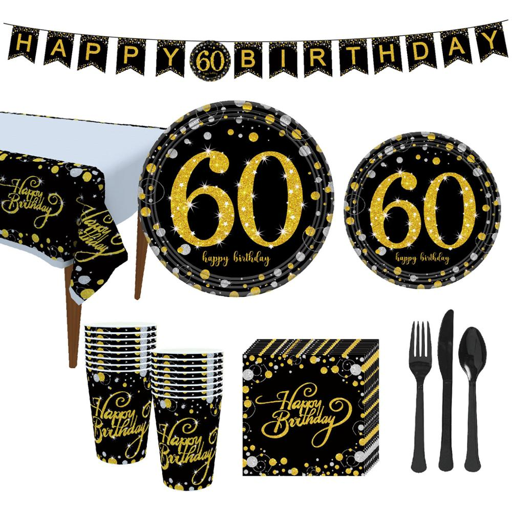 Taoup Gold Black 60th Birthday Party Tableware Cups Plates Towels Table Cover Happy <font><b>60</b></font> Birthday Party Decors Adult Grandparents image