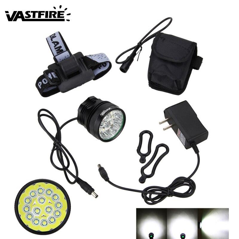 20000Lm LED De Vélo Avant Lampe 15x XML T6 LED Vélo lumière Torche 3 Modes Lanterne + Rechargeable 8.4 V 6x18650 Batterie Pack + Chargeur