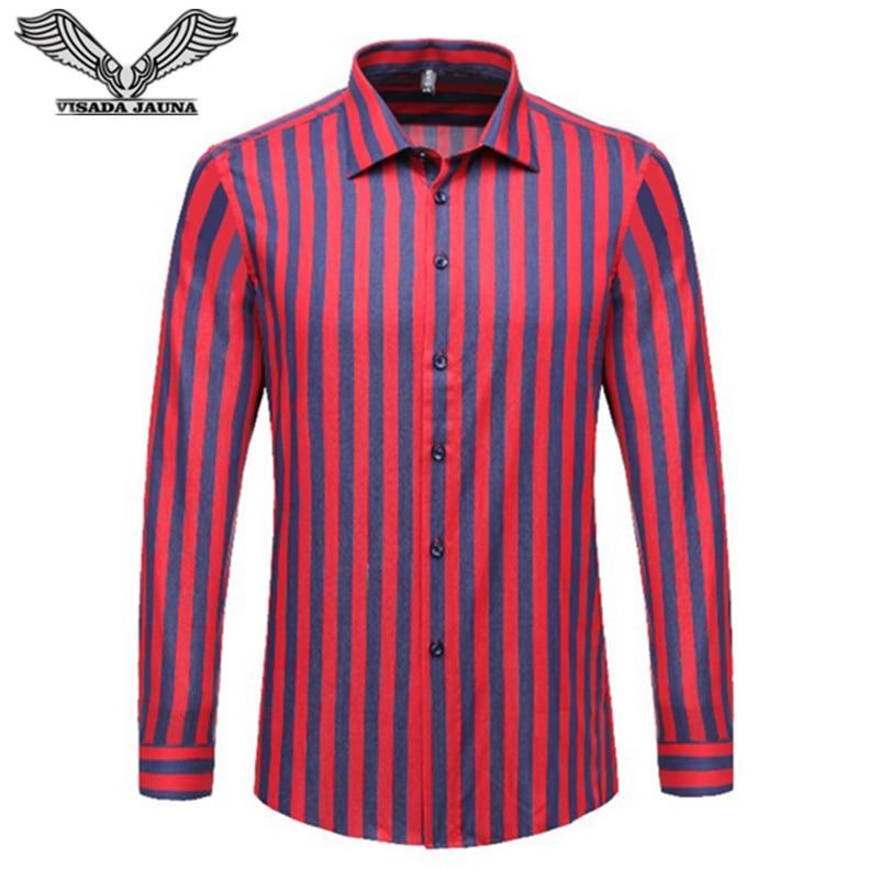 VISADA JAUNA 스트라이프 남성 셔츠 긴팔 2017 겨울 신착 캐주얼 남성 브랜드 의류 Chemise Homme Plus Size 5XL N1180