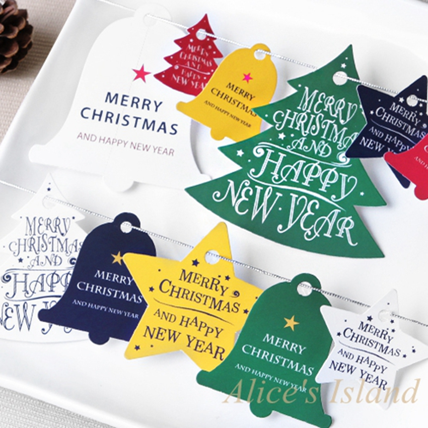 Us 1 66 5 Off 28pcs Diy Gift Tags Xmas Tree Star Christmas Bell Hang Tag For Party Favor Wedding Gift Guest Candy Box Bag Tag Decoration In Party