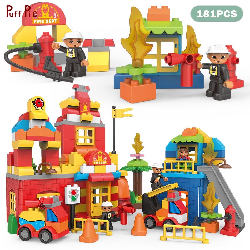181pcs Big Size Creative Bricks Set Diy City Fire Station