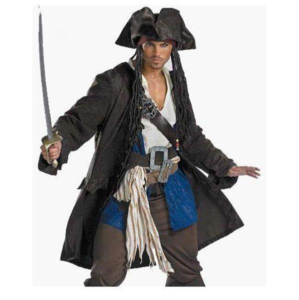 New Classic Pirates of the Caribbean Costume Adult Men Grand Heritage Collection Deluxe Luxury Wig Cosplay Outfits W159053