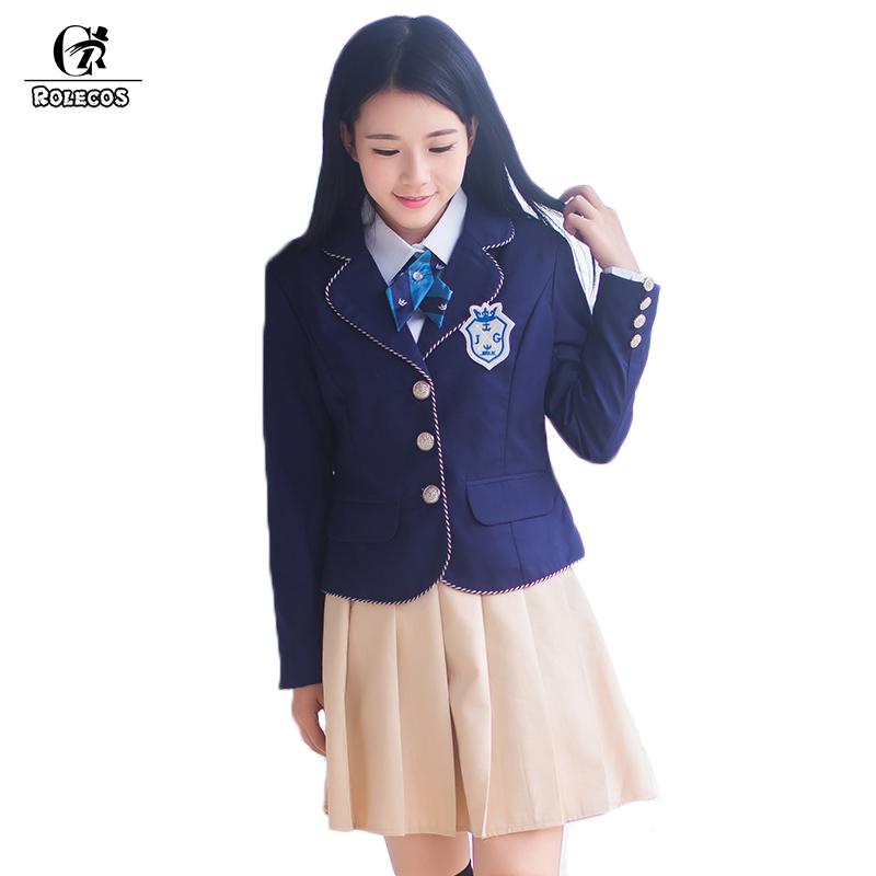 ROLECOS Brand New Autumn Men and Women School Uniform Suit Cosplay Uniform Japanese School Girl Uniform Set Jacket Shirt Skirt