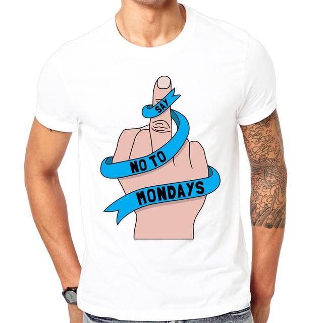 Niewiarygodnie Śmieszne męskie koszulki moda krótki rękaw projekt w poniedziałki LV97