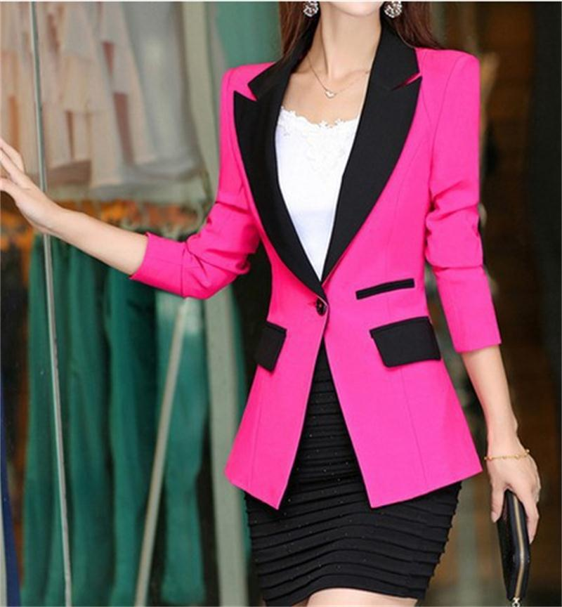 Blazer 2016 New Fashion Women Slim Coats Female Brand Pocket Design Long-sleeve Women Blazers Jackets D052
