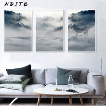 Foggy Mountain Wolf Art Canvas Poster Nordic Forest Landscape Wall Painting Print Decoration Picture Scandinavian Home Decor