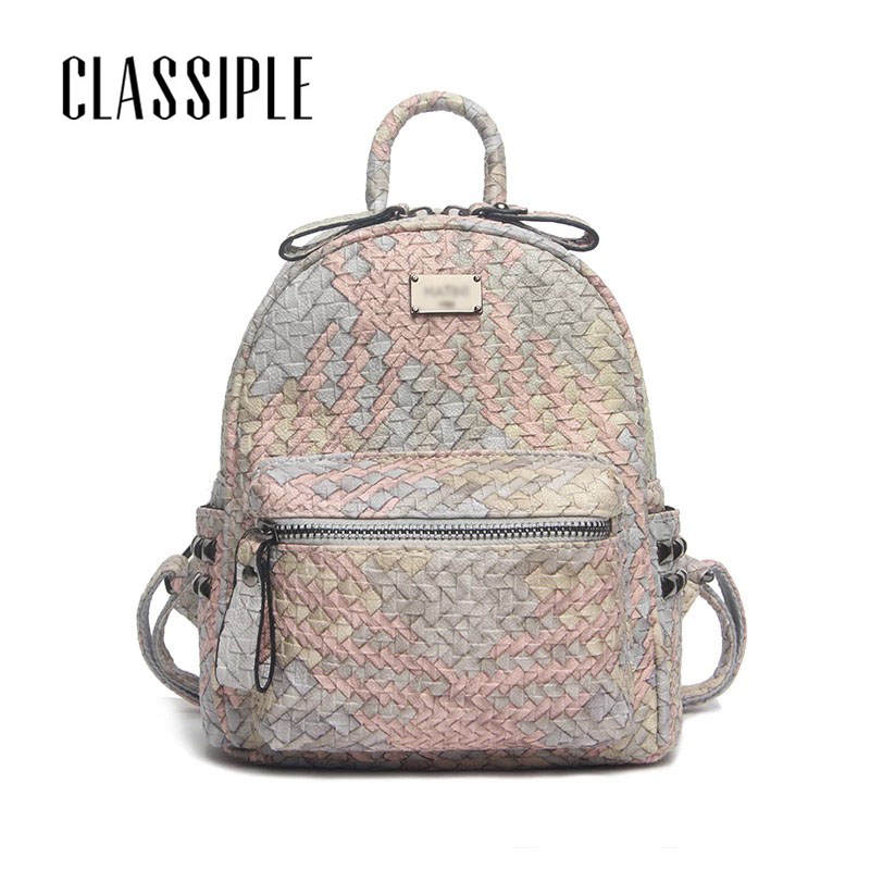 Cute Backpack Leather 2018 Fashion Woven Travel Daypacks Women Backpack Designer High Quality Female Backpacks Woman Back Pack