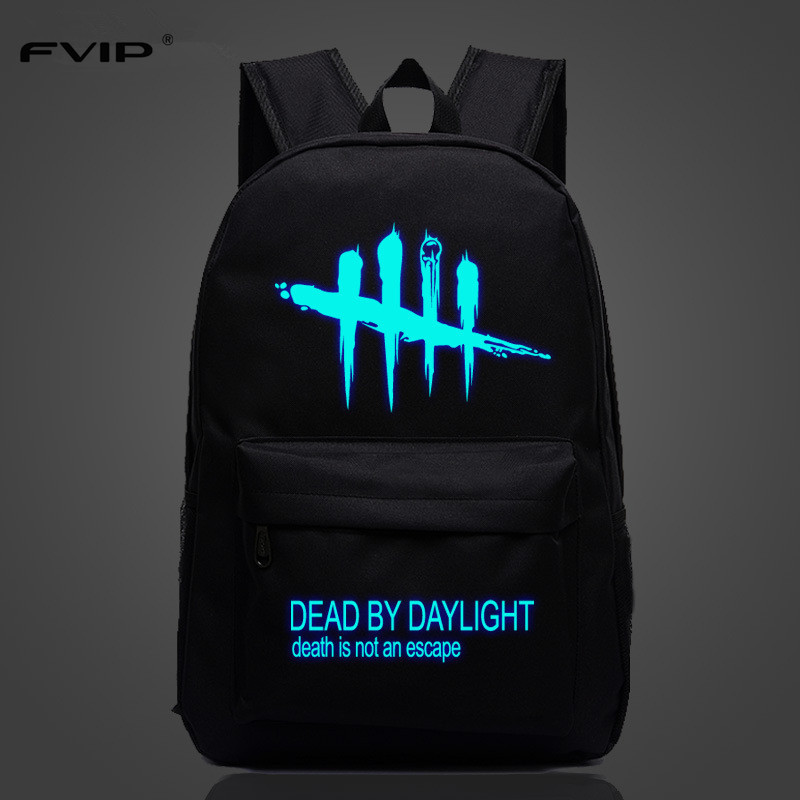 FVIP Cool Game Backpack Dead By Daylight Luminous Backpacks For Teenagers School Bag Travel Bags