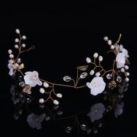 New High Quality Freshwater Pearls Bridal Headbands Gold Leaf Wedding Hair Accessories Jewelry White Flower Bride Hairband Tiara