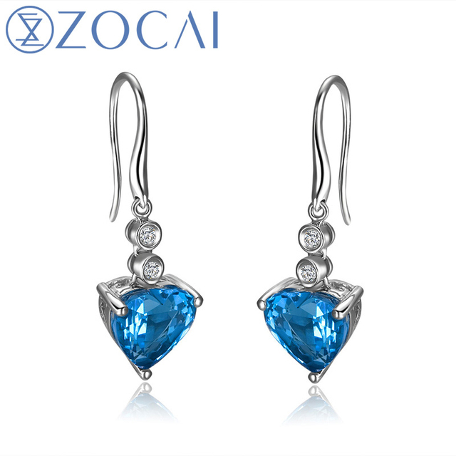 ZOCAI ZODIAC GEM 7.0 CT MYSTIC BLUE TOPAZ 0.01 CT DIAMOND HEART HOOK EARRINGS JEWELRY LEVERBACK 18K WHITE GOLD E00928