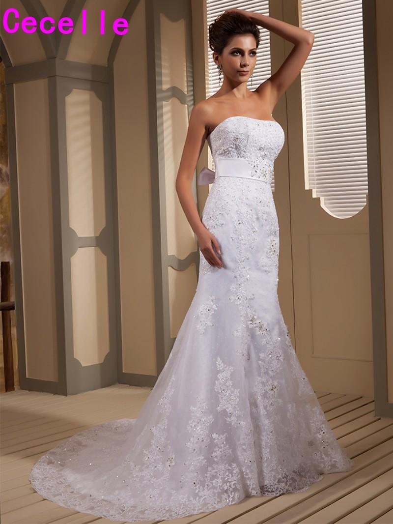 White Mermaid Beaded Lace Appliques Wedding Dresses Corset Back ...