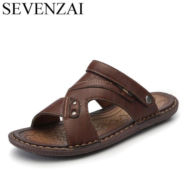 90475e88a4e7a Verano masculino transpirable playa sandalias hombres zapatos cuero marca  de lujo formal calzado italiano diapositiva diseñador