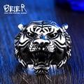 Beier nueva tienda anillo del motorista anillo de acero inoxidable 316l de calidad superior animal tiger joyería br8-307