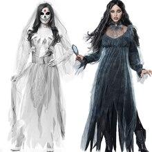 Женский карнавальный костюм на Хеллоуин, страшный призрак, мертвый труп, зомби, платье невесты