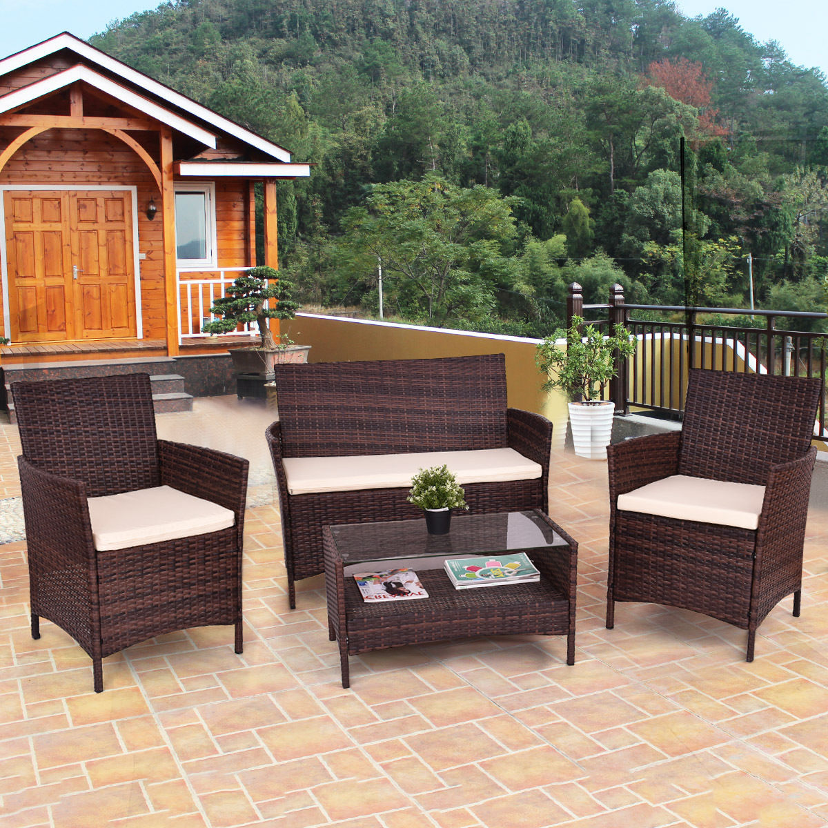 Giantex 4PCS Outdoor Patio PE Rattan Wicker Coffee Table Shelf Modern Garden Sofa Furniture Set With Cushion HW54898Giantex 4PCS Outdoor Patio PE Rattan Wicker Coffee Table Shelf Modern Garden Sofa Furniture Set With Cushion HW54898