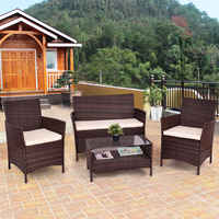 Giantex 4PCS Outdoor Patio PE Rattan Wicker Coffee Table Shelf Modern Garden Sofa Furniture Set With Cushion HW54898