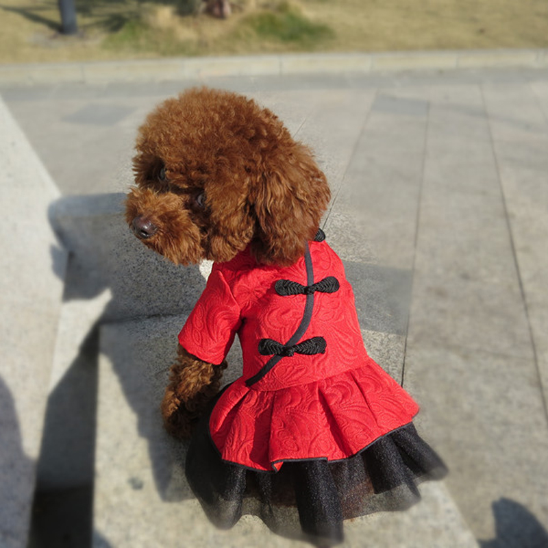 2018 New Pet Ladies Dog Clothes Dress Chinese Style Tang suit Summer Wedding Red Dresses Cat Clothes Cute Spring Dress for Cat