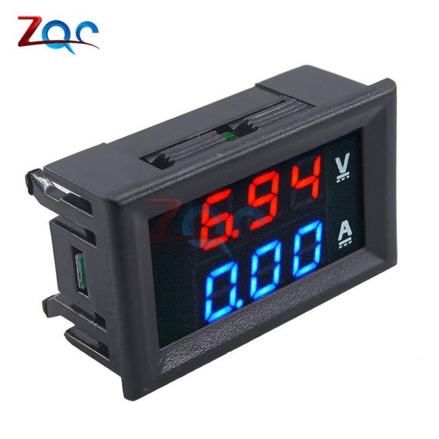 Mini Digital Voltmeter Ammeter DC 100V 10A Panel Amp Volt Voltage Current Meter Tester 0.56″ Blue Red Dual LED Display