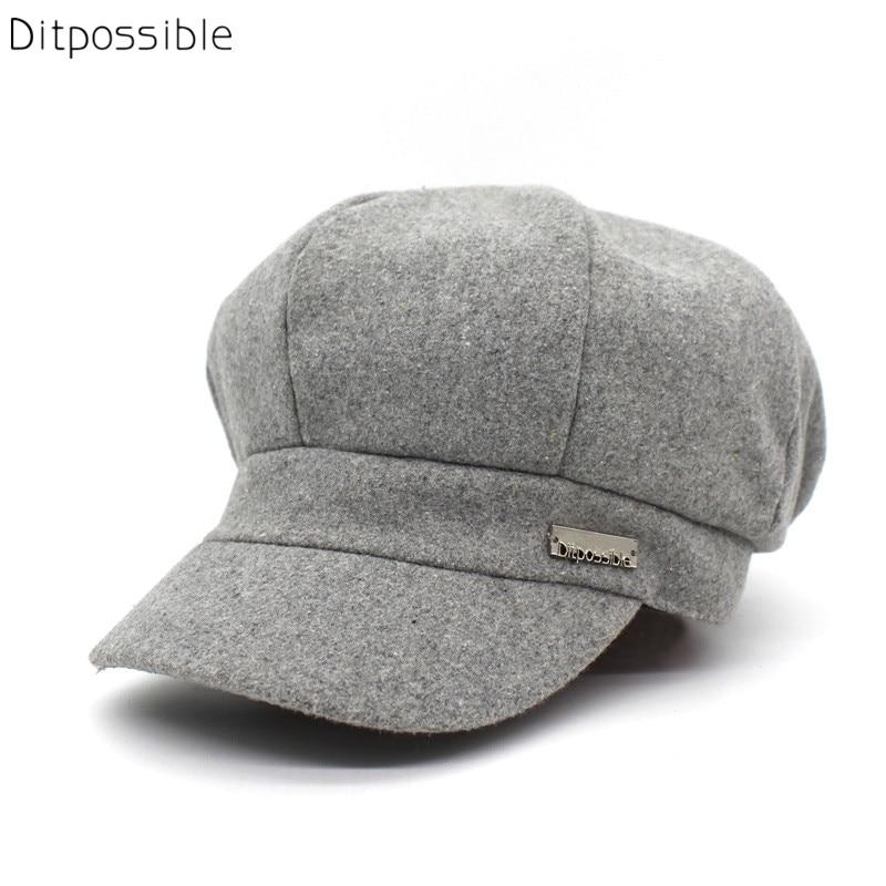 Ditpossible brand cap women wool cotton hat female beret caps casual hats boina