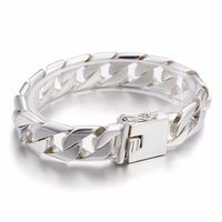 Selling fashion exquisite jewelry factory price wholesale personality men side side deduction S925 silver bracelet
