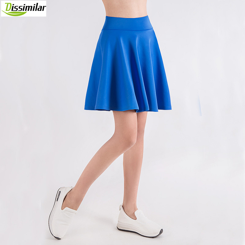 gratis fragt Kvinder Flared Skater Skirt Basic Solid Color Mini Skirt Over Knæ Alsidig Stretchy Pleated Casual Skirt 5 Størrelser