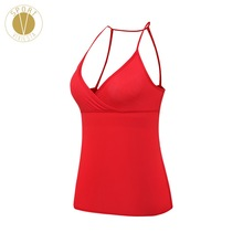 Skinny-Strap Sexy Tank With Shelf Bra – Women's Yoga Run Active Open Back Leisure Built-in Support Pad Cup Sports Clothing Top