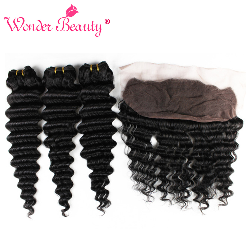 Wonder Beauty Deep Wave Hair Bundles With Frontal Human Hair Extension NonRemy Brazilian Hair Weave 3Bundles With 1Free frontal