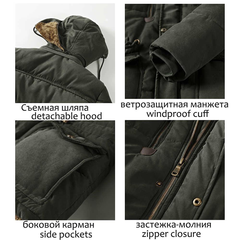 Yeni kış ceket erkekler 6XL 7XL 8XL kalın sıcak Parka polar kürk kapşonlu askeri ceket ceket cepler rüzgarlık ceket erkekler 2019