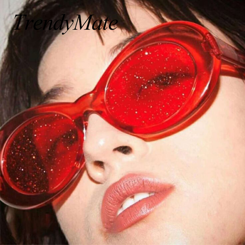 Sunglasses Women Men Oval Sun Glasses Glitter Lenses Eyewear Candy Colorful Classic Transparent Frame UV400 Shades 1490T|Women
