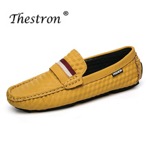 Thesron Man Casual Shoes with Fur PU Leather Driving for Male Black Brown Loafers Flat Autumn Winter Warm Slip-on Shoe