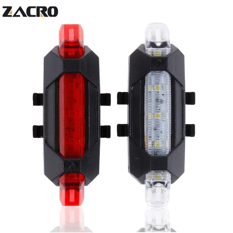 Zacro Bike Bicycle light Rechargeable LED Taillight USB Rear Tail Safety Warning Cycling light Portable Flash Light Super Bright 1x waterproof silicone mountain bike cycling light front rear tail lamp flash light bicycle handlebar frame wheel warning light